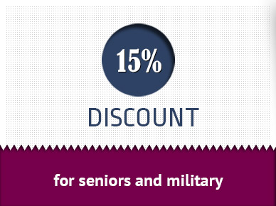 15% discount for seniors and military